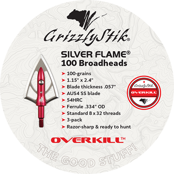 OVERKILL Silver Flame 100-grain Stainless Steel Double Bevel Broadheads