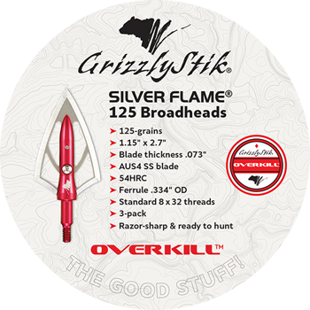 OVERKILL Silver Flame 125-grain Stainless Steel Double Bevel Broadheads